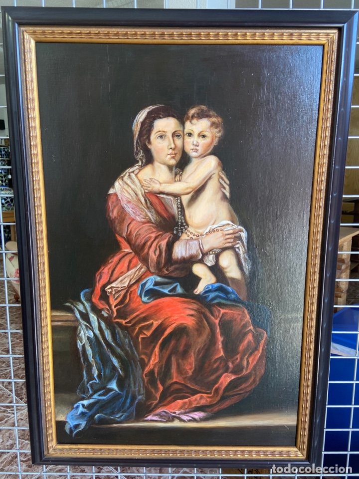 CUADRO ÓLEO SOBRE TABLA VIRGEN CON EL NIÑO (Arte - Arte Religioso - Pintura Religiosa - Oleo)