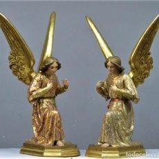 Arte: MAGNIFICOS ANGELES TORCHEROS. ESTOFADOS EN ORO. OJOS DE CRISTAL. OLOT?. PRIMERA CALIDAD. Lote 288024088