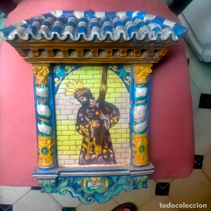 Arte: ORIGINAL RETABLO CERAMICO TERRACOTA PINTADO A MANO CRISTO DEL GRAN PODER SEMANA SANTA SEVILLA - Foto 2 - 288069078