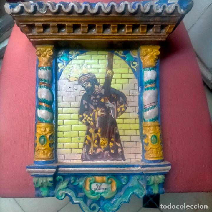 Arte: ORIGINAL RETABLO CERAMICO TERRACOTA PINTADO A MANO CRISTO DEL GRAN PODER SEMANA SANTA SEVILLA - Foto 28 - 288069078