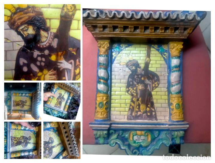 ORIGINAL RETABLO CERAMICO TERRACOTA PINTADO A MANO CRISTO DEL GRAN PODER SEMANA SANTA SEVILLA (Arte - Arte Religioso - Retablos)