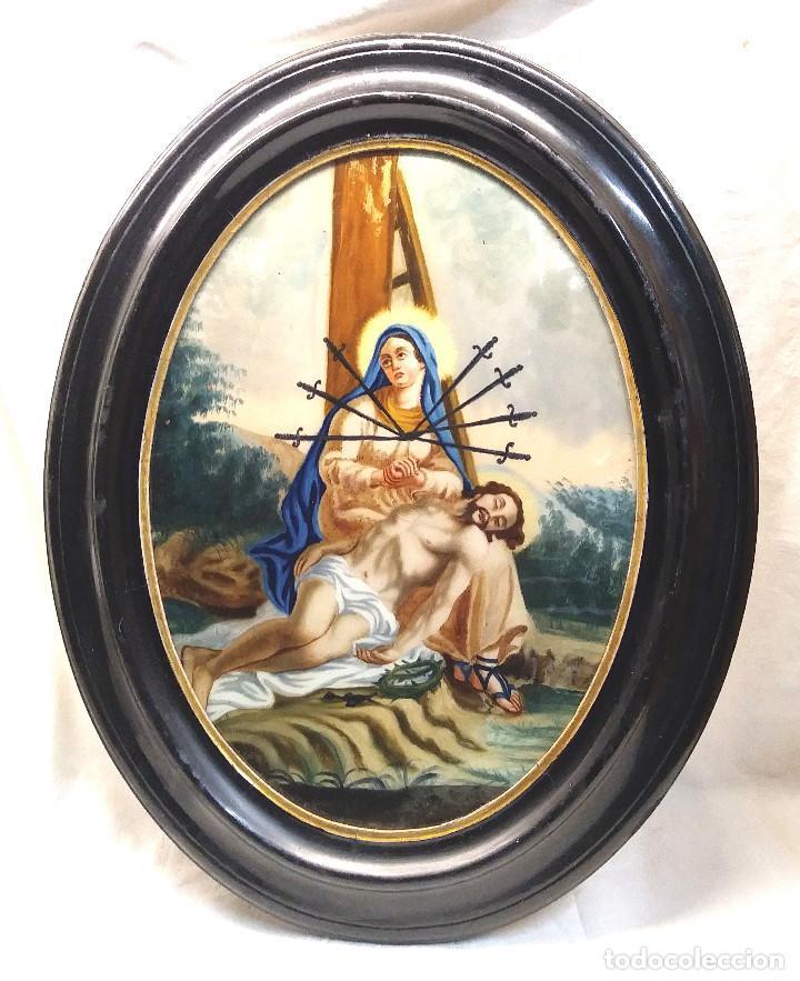 LA PASION VIRGEN DE LOS DOLORES, OLEO EN CRISTAL S XVIII. MED. 44 X 56 CM (Arte - Arte Religioso - Pintura Religiosa - Oleo)
