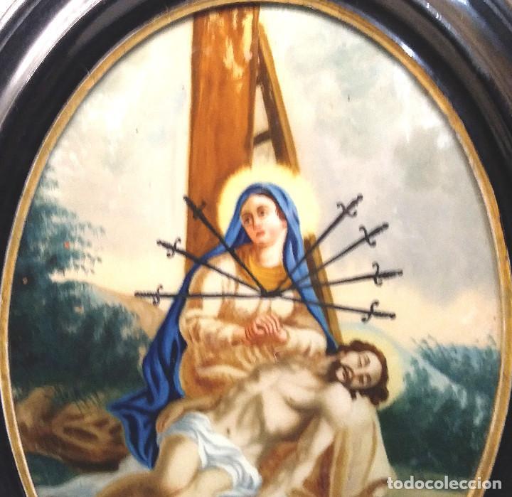 Arte: La Pasion Virgen de los Dolores, Oleo en Cristal S XVIII. Med. 44 x 56 cm - Foto 2 - 288135478