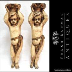 Arte: PAREJA DE QUERUBINES ÁNGELES TALLADOS EN MADERA / ESCULTURAS / PEDESTALES - ENVÍO GRATIS PENÍNSULA. Lote 288573043