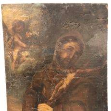 Art: OLEO SOBRE TELA DE SAN FRANCISCO DE ASIS ANTIGUO PARA RESTAURAR. 82 X 62 CM.. Lote 288618413