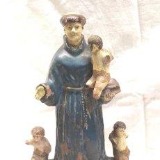 Arte: SAN ANTONIO ABAD ANGELES QUERUBINES BARROCO S XVIII TERRACOTA POLICROMADA. MED. 34 CM. Lote 288704153