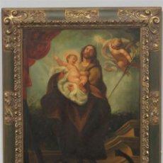 Arte: SAN JOSE CON EL NIÑO. OLEO S/LIENZO. MARCO SIGUIENDO MODELOS BARROCOS. SIGLO XVIII. Lote 288858468