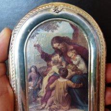 Arte: RETABLO RELIGIOSO SOBRE MADERA - MARCO DE PLATA - JESUS Y LOS NIÑOS - DE SOBRE MESA O PARED -. Lote 289313748