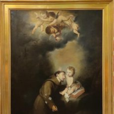 Arte: O/L SAN ANTONIO CON EL NIÑO, COPIA DE MURILLO, S.XIX. Lote 289446238