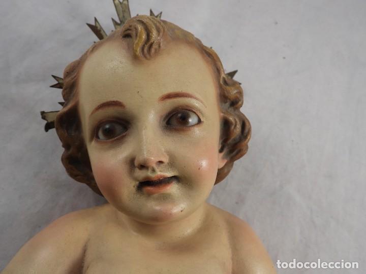 Arte: NIÑO JESUS DE ESTUCO POLICROMADO EN SU CUNA - Foto 10 - 289543163