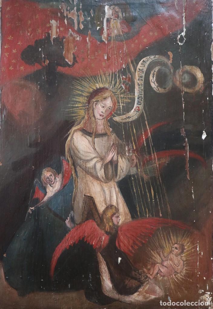 ESCENA DE LA ANUNCIACIÓN A LA VIRGEN MARÍA. ÓLEO/TABLA. PPS. S. XX. MIDE 41 X 28 CM. (Arte - Arte Religioso - Pintura Religiosa - Oleo)