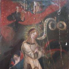 Arte: ESCENA DE LA ANUNCIACIÓN A LA VIRGEN MARÍA. ÓLEO/TABLA. PPS. S. XX. MIDE 41 X 28 CM.. Lote 289906263