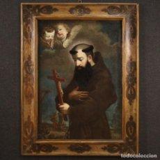 Arte: PINTURA RELIGIOSA ITALIANA ANTIGUA SAN SAN JOSÉ DE LEONESSA DEL SIGLO XVIII. Lote 290004008