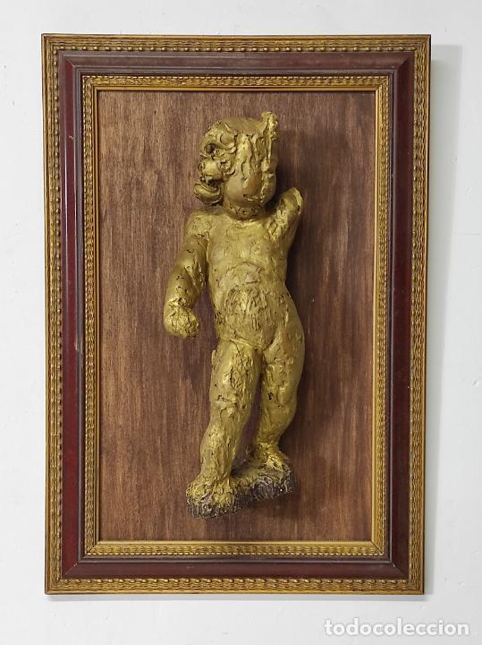 ANTIGUO ÁNGEL BARROCO - TALLA DE MADERA DORADA - S. XVIII (Arte - Arte Religioso - Escultura)