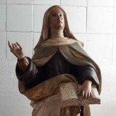 Arte: GRANDE Y ANTIGUA TALLA EN MADERA DEL SIGLO 18 - SANTA TERESA , 80 CM DE ALTO. Lote 292394153