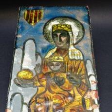 Arte: ESMALTE VIRGEN DE MONTSERRAT . PINTURA SOBRE COBRE . ICONO LA MORENETA. Lote 293260988