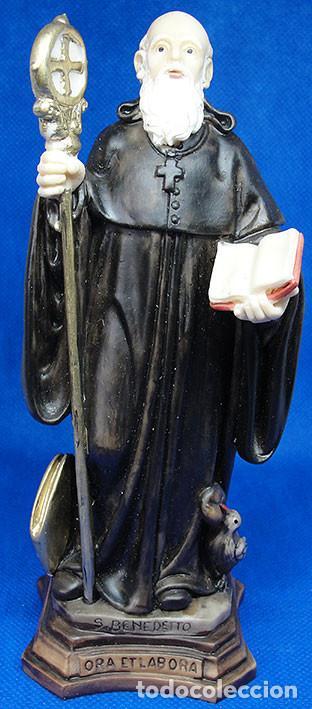 SAN BENEDICTO - FIGURA DE RESINA 17 CM - MADE IN ITALY - ENTREGA EN MANO - (Arte - Arte Religioso - Escultura)