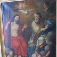 Arte: LIENZO DE SANTÍSIMA TRINIDAD, 123CM * 94CM .ESCUELA VILADOMAT SIGLO XVII-XVIII. Lote 293728608