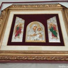 Arte: ICONO BIZANTINO DE LA VIRGEN MARÍA Y EL NIÑO JESÚS DE PLATA JERUSALÉM. Lote 293903313
