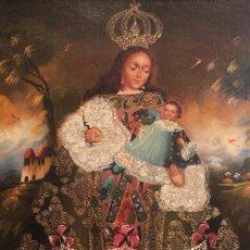 Arte: OLEO VIRGEN DE LA CANDELARIA. ¿ESCUEÑA CUZQUEÑA? ENMARCADO 76X57CM. Lote 294377653