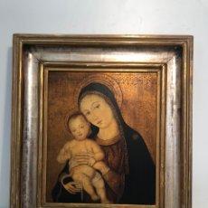 Arte: PRECIOSO ICONO DE LA VIRGEN Y NIÑO JESUS PINTADO A MANO SOBRE MADERA.. Lote 294577928