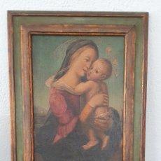 Arte: VIRGEN CON NIÑO - ESCUELA ESPAÑOLA - OLEO - 40 X 29 CM.. Lote 295594103