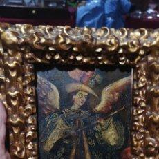 Arte: ANTIGUO COBRE PINTADO AL ÓLEO DE ANGEL ARCABUCERO ESCUELA COLONIAL DESCONOZCO ÉPOCA. Lote 295640033
