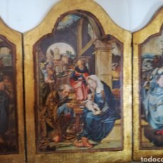 Arte: ANTIGUO GRAN TRIPTICO EN MADERA.. ADORACIÓN DE LOS TRES REYES AL NIÑO JESÚS 46 CM POR 59 CM. LEER !!. Lote 295924938