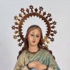Arte: INMACULADA CONCEPCION. ESTUCO PINTADOA MANO. ARTE RELIGIOSO. OLOT. SIGLO XX.. Lote 296554818