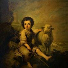 Arte: EXTRAORDINARIO BUEN PASTOR, MURILLO, S. XIX, GRAN FORMATO. Lote 297080943