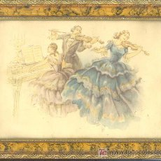 Arte: CUADRO ENMARCADO ANTIGUO CON LAMINA DE TRES MUSICOS - HERMOSO CUADRO POR SU COLORIDO. Lote 20479745