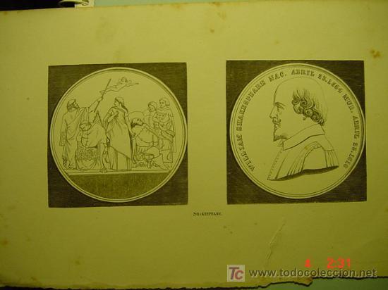 1065 GRABADO MEDALLA CONMEMORATIVA DE WILLIAM SHAKESPEARE SIGLO XIX -COSAS&CURIOSAS (Arte - Serigrafías )