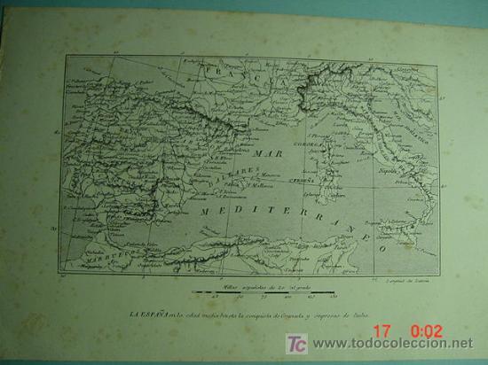 1228 MAPA ESPAÑA SPAIN GRABADO LITOGRAFICO - LA ESPAÑA MEDIEVAL - CIRCA AÑO 1862 - COSAS&CURIOSAS (Arte - Serigrafías )