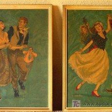 Arte: COUNTRY DANCE. DOS ILUSTRACIONES AMERICANAS SERIGRAFIADAS EN TABLERO. AÑO 1952. ENMARCADAS. Lote 27037969