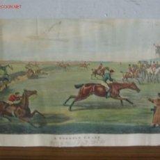 """Arte: CARRERA DE CABALLOS INGLESA """"A STEEPLE CHASE"""" .. AÑOS 50 – 60 CON ALGUNA MANCHA. Lote 23173930"""