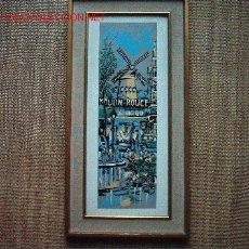 Arte: MOULIN ROUGE. SERIGRAFIA SOBRE TABLA. 45 X 14 CM. . Lote 21764293