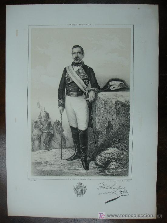 MILITAR. GENERAL 2º CABO DE LAS YSLAS BALEARES. 1856. ESTADO MAYOR DEL EJÉRCITO ESPAÑOL. 45 X 32 CM. (Arte - Serigrafías )