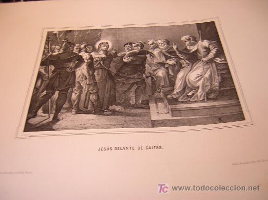 JESUS DELANTE DE CAIFÁS.DE LA COLECCION DE LITOGRAFIAS DE GALERIA CATOLICA.AÑO 1866 (Arte - Serigrafías )