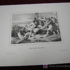 Arte: CRUCIFICACION DE JESÚS.DE LA COLECCION DE LITOGRAFIAS DE GALERIA CATOLICA.AÑO 1866. Lote 26972755