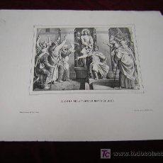 Arte: EL PUEBLO PIDE A PILATOS LA MUERTE DE JESÚS- COLECCION DE LITOGRAFIAS DE GALERIA CATOLICA.AÑO 1866. Lote 24101695
