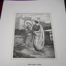 Arte: SANTAS SABINA Y SERAPIA,SANTA SOFIA E HIJAS- COLECCION DE LITOGRAFIAS DE GALERIA CATOLICA.AÑO 1866. Lote 24708201