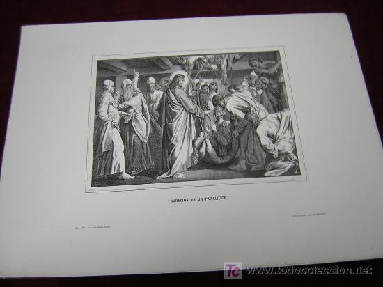 CURACION DE UN PARALITICO,JESUS Y LA PECADORA ..DE LA COLECCION DE LITOGRAFIAS.GALERIA CATOLICA. (Arte - Serigrafías )