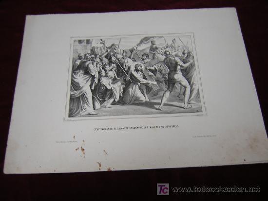 JESUS SUBIENDO AL CALVARIO..Y RESURECCION -DE LA COLECCION DE LITOGRAFIAS.GALERIA CATOLICA. (Arte - Serigrafías )