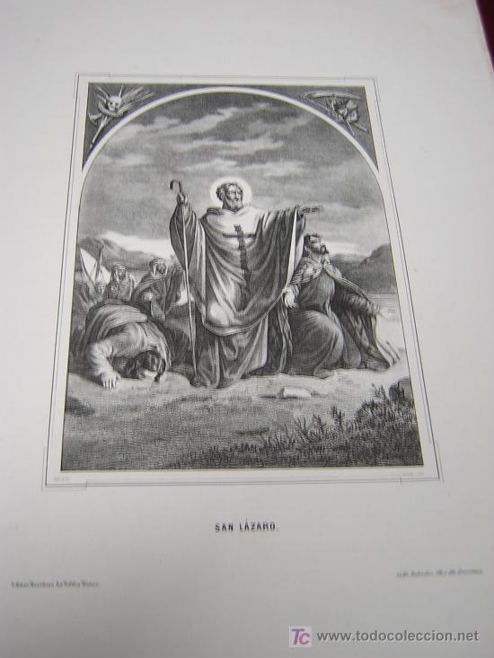 SAN LAZARO Y SAN TITO -DE LA COLECCION DE LITOGRAFIAS.GALERIA CATOLICA. (Arte - Serigrafías )