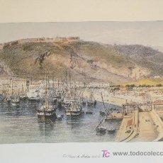 Arte: LITOGRAFÍAS DEL SIGLO XIX DE MÁLAGA. EL PUERTO DE MÁLAGA DESDE LA FAROLA. 39,5 X 30 CM. . Lote 17961651