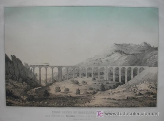 Arte: FERROCARRIL DE BARCELONA A ZARAGOZA. GRAN VIADUCTO DEL BUXADELL A 42 KM DE BARCELONA. MONTSERRAT. - Foto 2 - 18453091