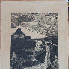 Arte: WOODCUT GRABADO MUY ANTIGUO SOBRE PAPEL VERJURADO. Lote 19435938
