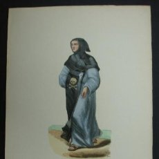 Arte: HÁBITOS RELIGIOSOS. ERMITAÑO DE SAN PABLO. 27,5 X 17,5 CM. . Lote 23292055