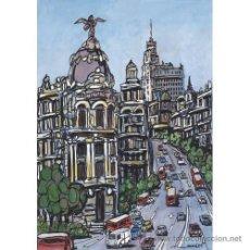 Arte: MADRID: CIRCULACION EN GRAN VIA. AUTOR: JOSE ALCALÁ. CUADRO RELIZADO EN TABLA DE 70 X 50 CM.. Lote 26200370