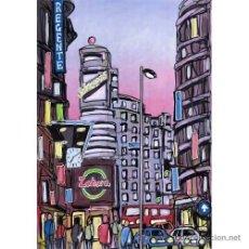 Arte: MADRID: ZAHARA EN GRAN VIA. AUTOR: JOSE ALCALÁ. CUADRO RELIZADO EN TABLA DE 70 X 50 CM. . Lote 27077588